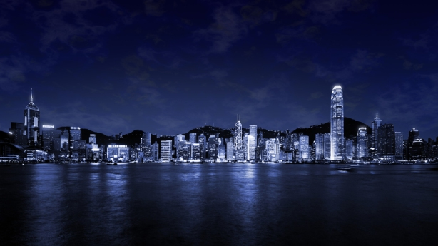 Blue-City-Skyline-At-Night